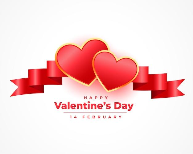 Dia dos namorados realista 3d corações e cartão de fita Vetor grátis