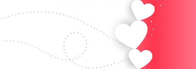 Dia dos namorados rosa e branco amor banner design Vetor grátis