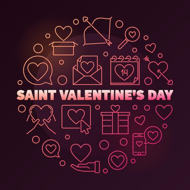 Dia dos namorados saint redondo ilustração linear colorida Vetor Premium