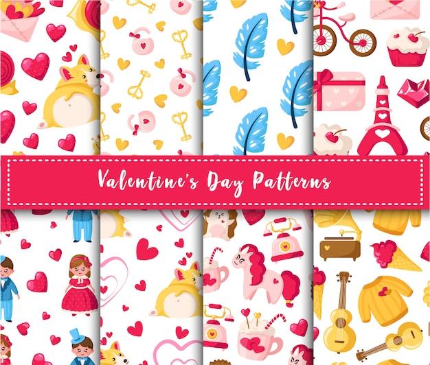 Dia dos namorados sem costura padrão conjunto - cartoon kawaii menina e menino, filhote de corgi, unicórnio, penas, corações Vetor Premium