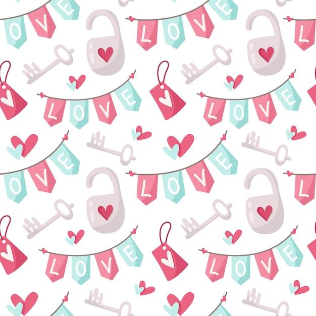 Dia dos namorados sem costura padrão de desenho animado Vetor Premium