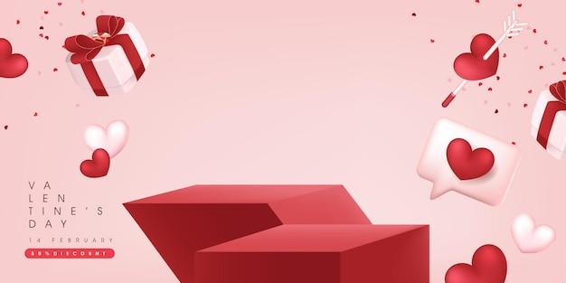 Dia dos namorados venda banner backgroud com exposição de produto. Vetor Premium