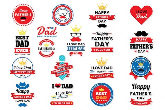 Dia dos pais aniversário vetor logotipo para banner Vetor Premium