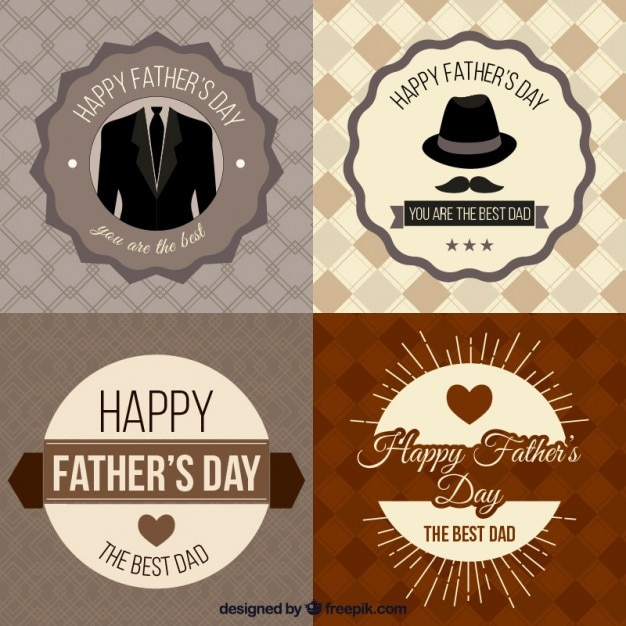 Dia dos pais emblemas coleção Vetor grátis