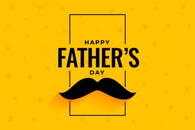 Dia dos pais feliz estilo plano amarelo banner Vetor grátis