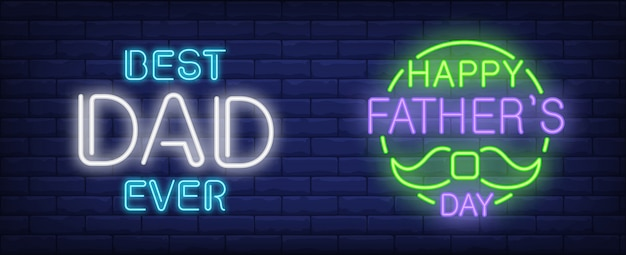 Dia dos pais feliz, melhor pai já ilustração no estilo de néon. Vetor grátis