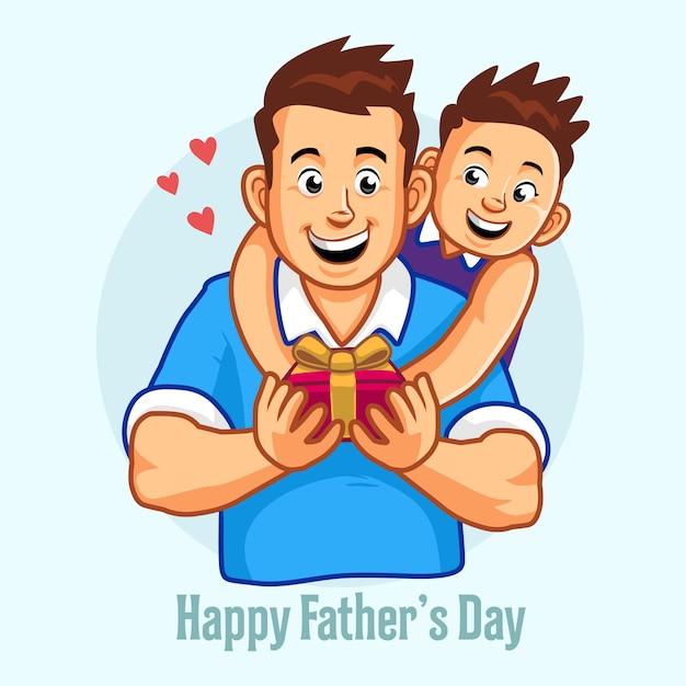 Dia dos pais. pai e filho. filho está dando um presente para o pai. Vetor Premium
