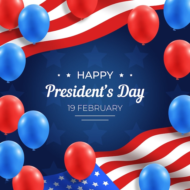 Dia dos presidentes com balões realistas Vetor grátis