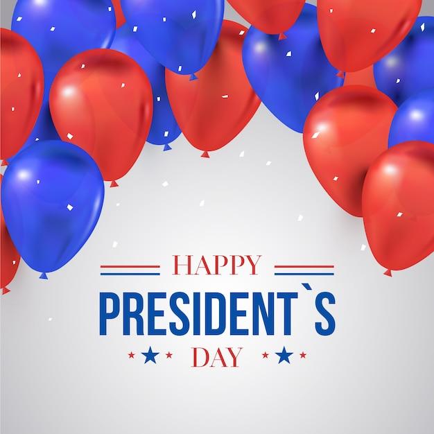 Dia dos presidentes com balões Vetor grátis