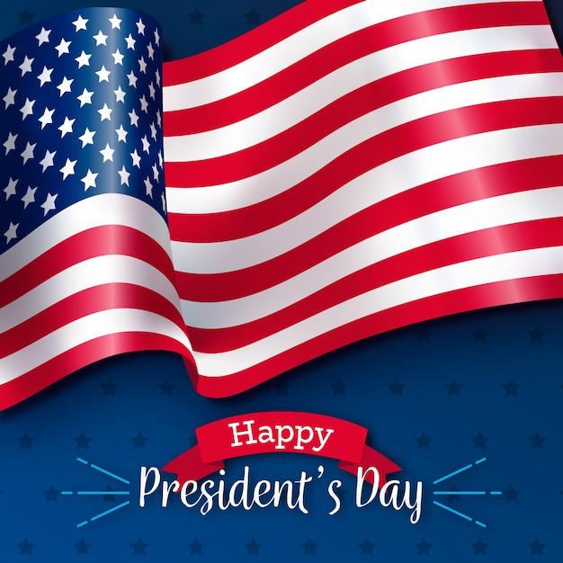 Dia dos presidentes com bandeira realista Vetor grátis