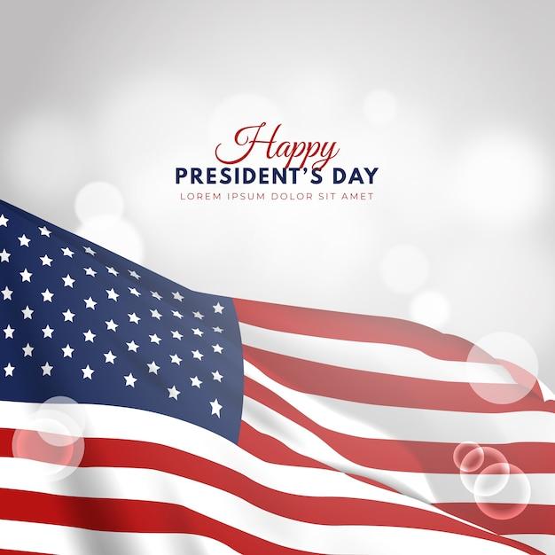 Dia dos presidentes com bandeira realista Vetor Premium