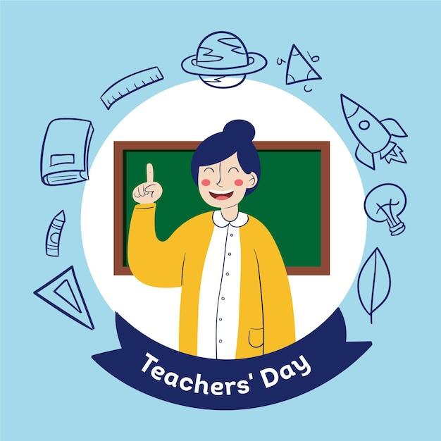 Dia dos professores desenhado à mão com ilustração de mulher Vetor grátis