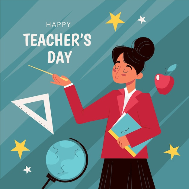 Dia dos professores desenhado à mão com mulher Vetor grátis
