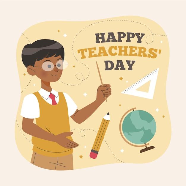 Dia dos professores desenhados à mão Vetor grátis