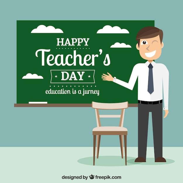 Dia dos professores, professor com quadro-negro Vetor grátis