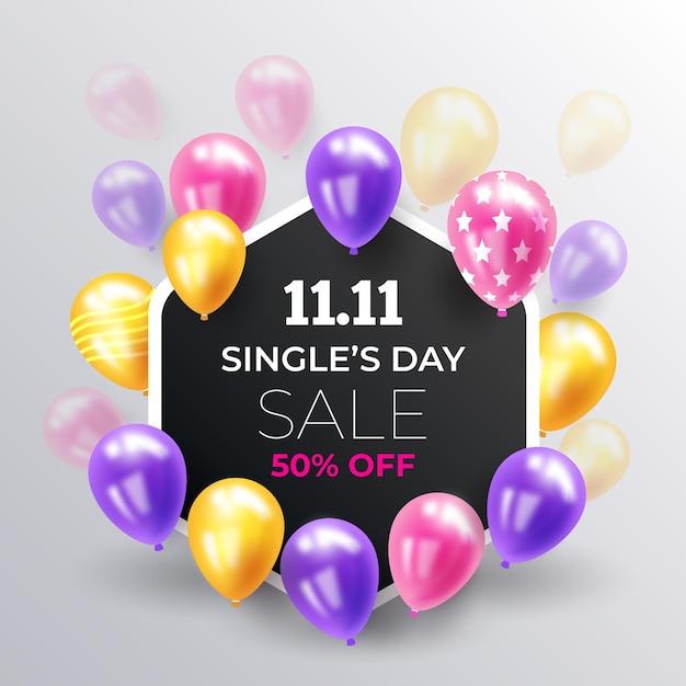 Dia dos solteiros com balões realistas Vetor Premium