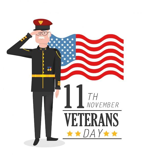 Dia dos veteranos celebração patriótica de militares Vetor Premium