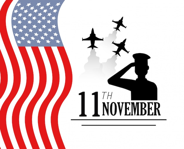 Dia dos veteranos com aviões militares e bandeira Vetor Premium