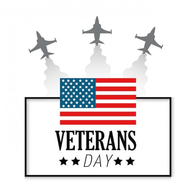 Dia dos veteranos com bandeira e aviões dos estados unidos Vetor Premium