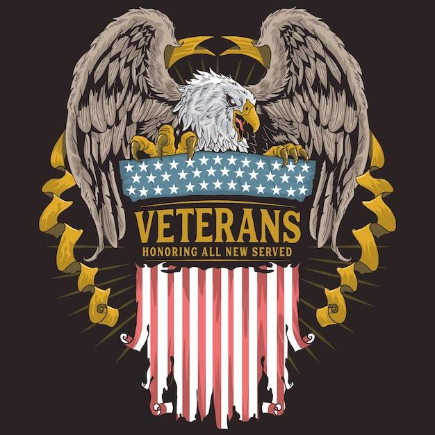 Dia dos veteranos da águia Vetor Premium