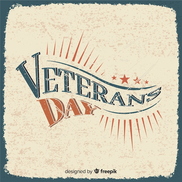 Dia dos veteranos de letras retrô Vetor grátis