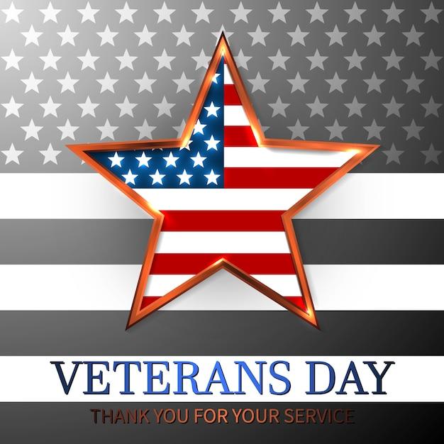Dia dos veteranos dos eua com estrela na bandeira nacional cores bandeira americana. homenageando todos os que serviram. Vetor Premium
