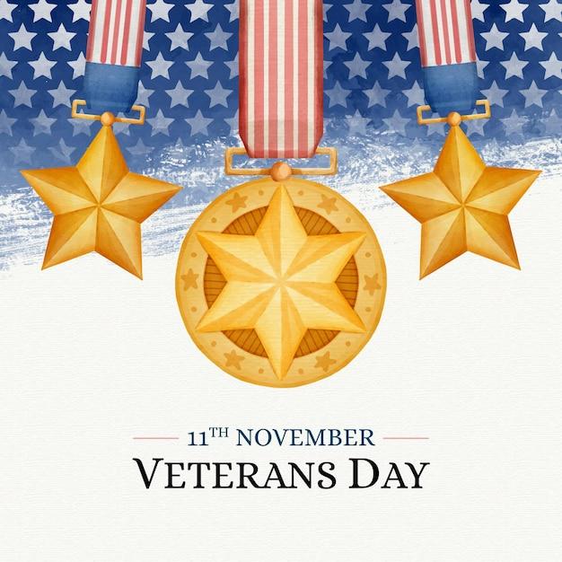 Dia dos veteranos em aquarela Vetor grátis