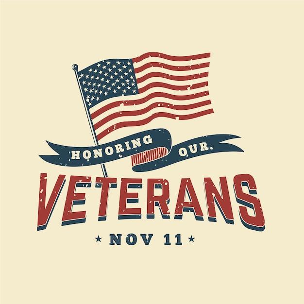 Dia dos veteranos festivos de design vintage Vetor Premium