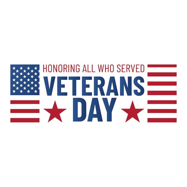 Dia dos veteranos. homenageando todos os que serviram. emblema do dia dos veteranos com bandeira americana Vetor Premium