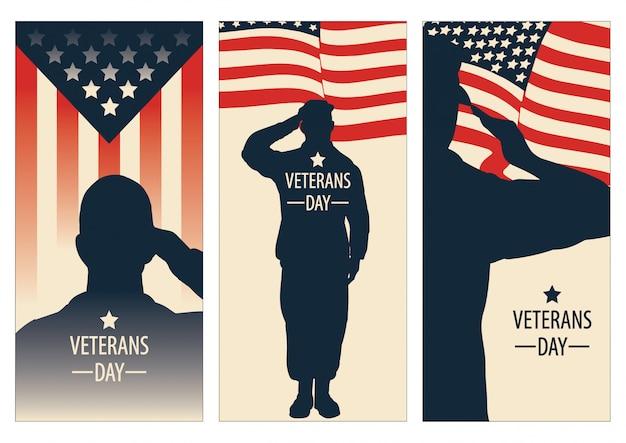 Dia dos veteranos, memorial day, vetor de patriota para banner, folheto, anúncio impresso, adesivo Vetor Premium