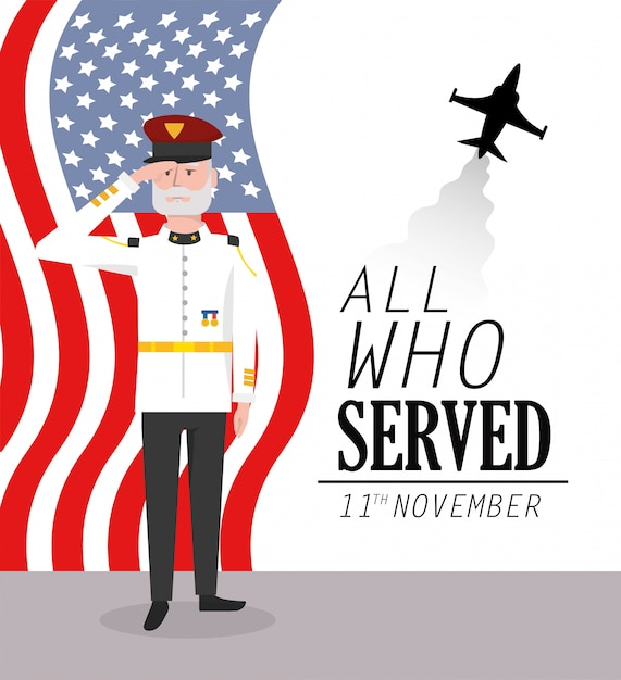 Dia dos veteranos para celebração militar com bandeira e avião Vetor Premium