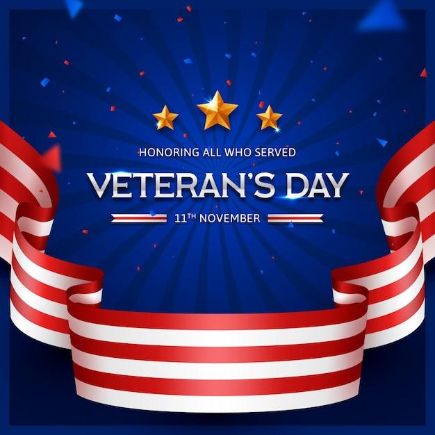 Dia dos veteranos realistas Vetor Premium
