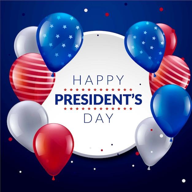 Dia e balões do presidente da américa unida Vetor grátis