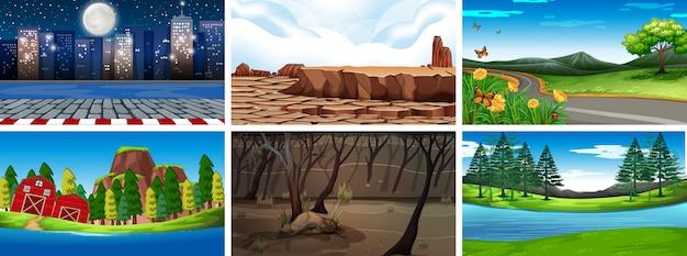 Dia e noite cenas da natureza ou plano de fundo Vetor grátis