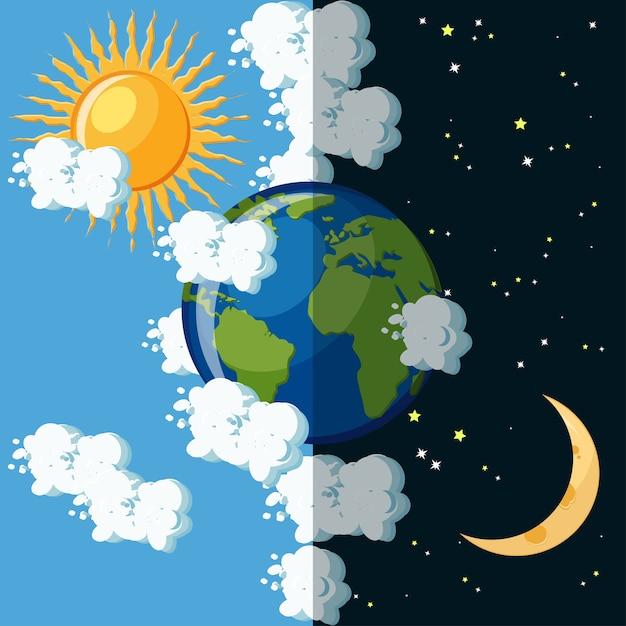 Dia e noite no conceito de planeta terra. Vetor Premium