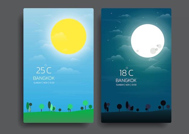 Dia e noite paisagem da natureza. Vetor Premium