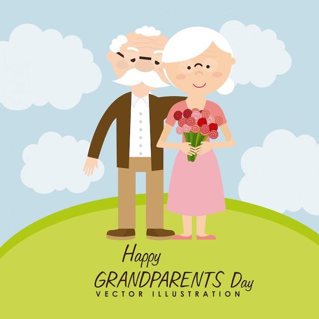 Dia feliz dos avós Vetor Premium