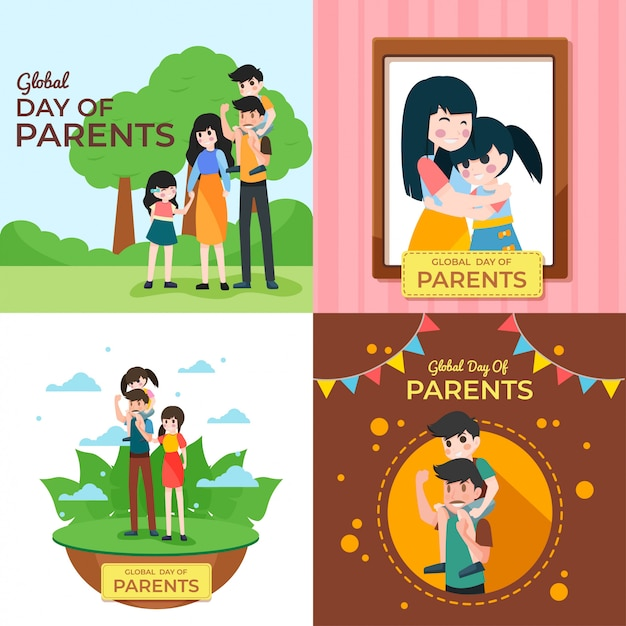 Dia global de ilustração dos pais Vetor Premium