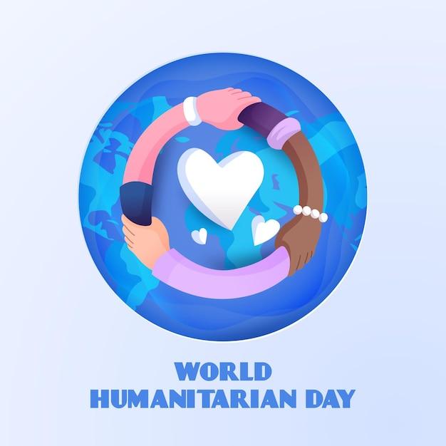 Dia humanitário desenhado de mão com coração Vetor grátis