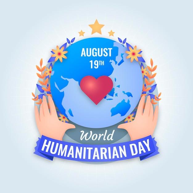 Dia humanitário do mundo plano Vetor grátis