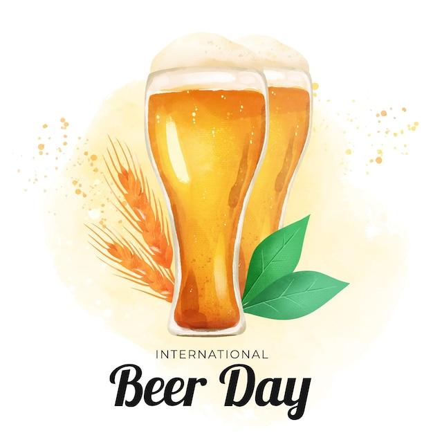 Dia internacional da aguarela cerveja com óculos Vetor grátis