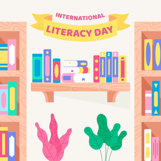 Dia internacional da alfabetização com estantes de livros Vetor grátis