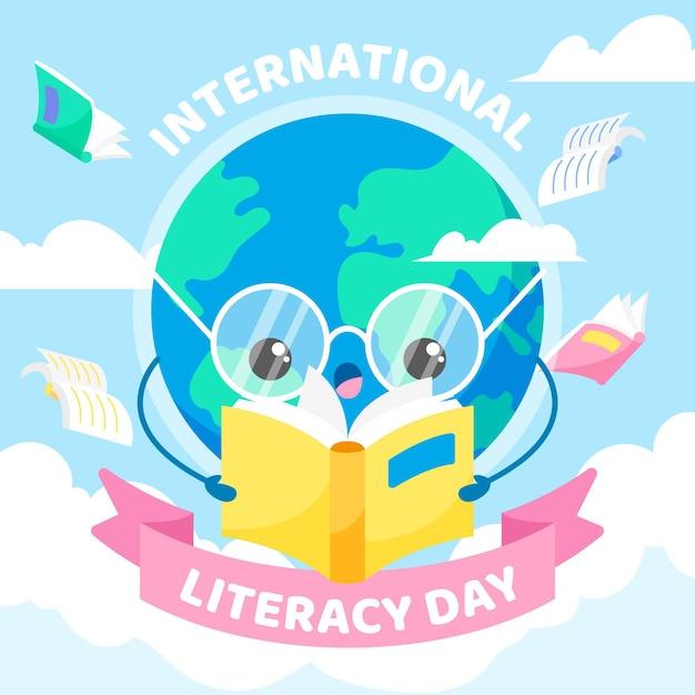 Dia internacional da alfabetização com livro de leitura da terra Vetor grátis