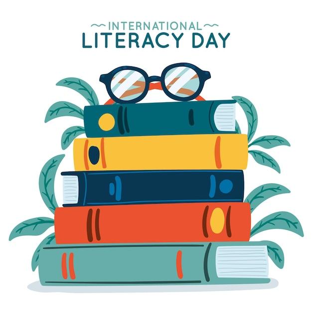 Dia internacional da alfabetização desenhada de mão Vetor grátis