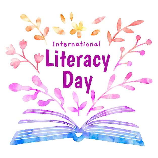 Dia internacional da alfabetização livro aberto e folhas Vetor grátis