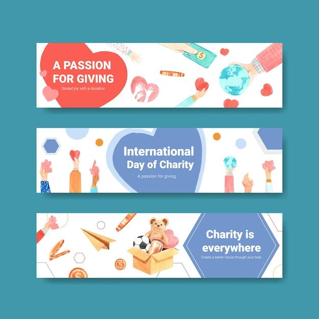 Dia internacional da caridade banner conceito design com anunciar vetor aquarela. Vetor grátis