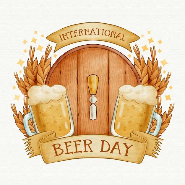 Dia internacional da cerveja com barril e pintas Vetor grátis