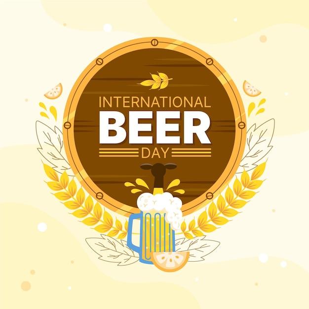 Dia internacional da cerveja com cerveja e barril Vetor grátis