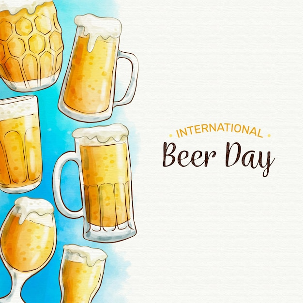 Dia internacional da cerveja com copos e copos de espuma Vetor grátis