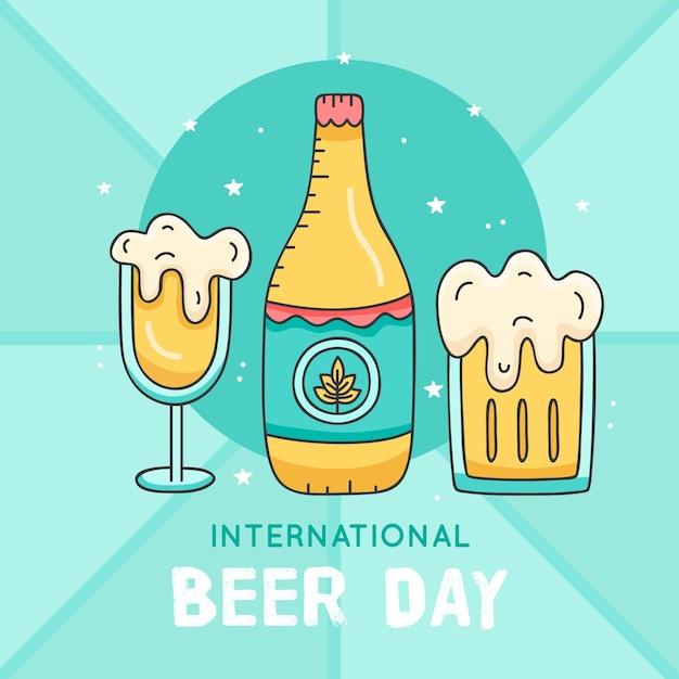 Dia internacional da cerveja com garrafa Vetor grátis